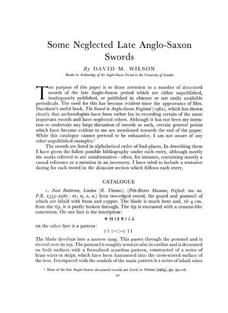 Some Neglected Late Anglo-Saxon Swords - Archaeology Data ...