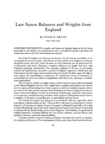 Late Saxon Balances and Weights from England - Archaeology Data ...