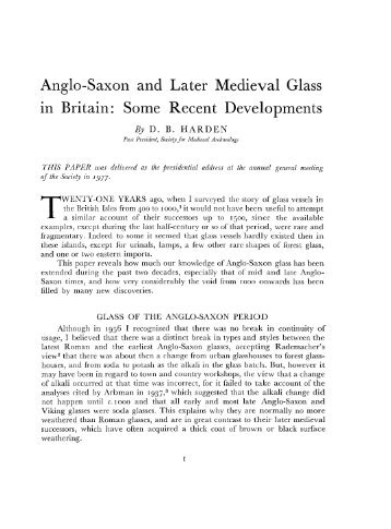 Anglo-Saxon and Later Medieval Glass In Britain - Archaeology ...