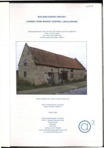 corner farm, market deeping, lincolnshire - Archaeology Data Service