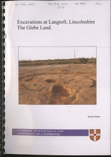 tf ^ Excavations at Langtoft, Lincolnshire The Glebe Land.