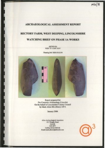 archaeological assessment report rectory farm, west deeping ...