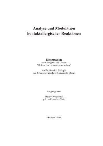 Analyse und Modulation kontaktallergischer Reaktionen - ArchiMeD ...