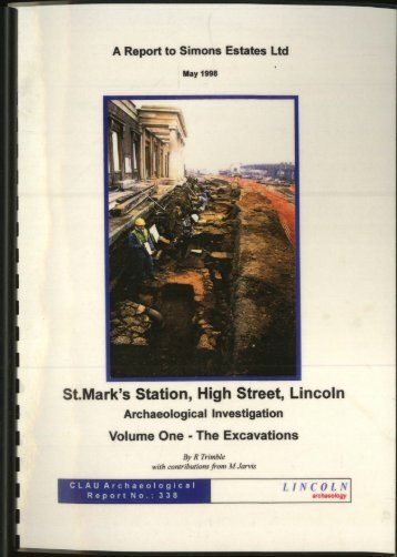 St.Mark's Station, High Street, Lincoln - Archaeology Data Service