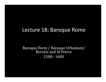Lecture 18: Baroque Rome - School of Architecture and Planning