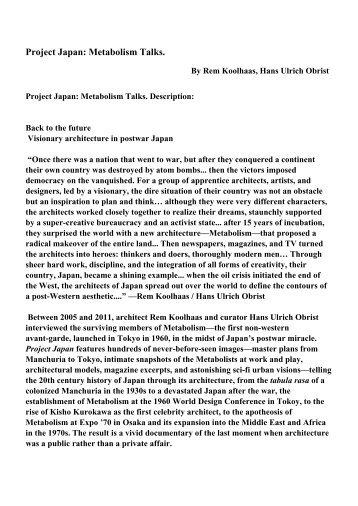 Amazing Project Japan: Metabolism Talks.   PDF EBooks Free Download