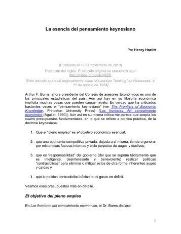 La esencia del pensamiento keynesiano.pdf - Archipielago Libertad