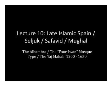 Lecture 10 - School of Architecture and Planning