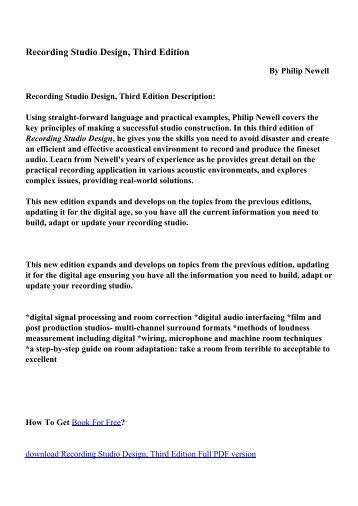 Recording Studio Design, Third Edition - PDF eBooks Free Download