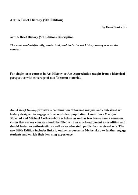 Art A Brief History 5th Edition Pdf Ebooks Free Download