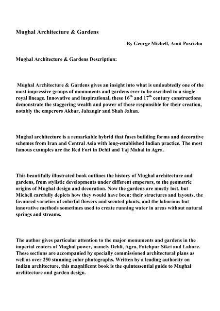 Mughal Architecture Gardens Pdf Ebooks Free Download
