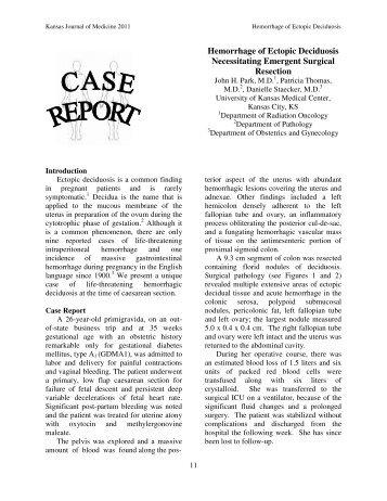 Hemorrhage of Ectopic Deciduosis Necessitating Emergent Surgical ...