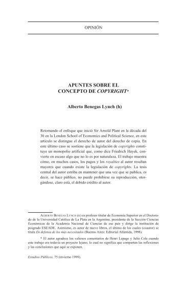 apuntes sobre el concepto de copyright - Centro de Estudios Públicos