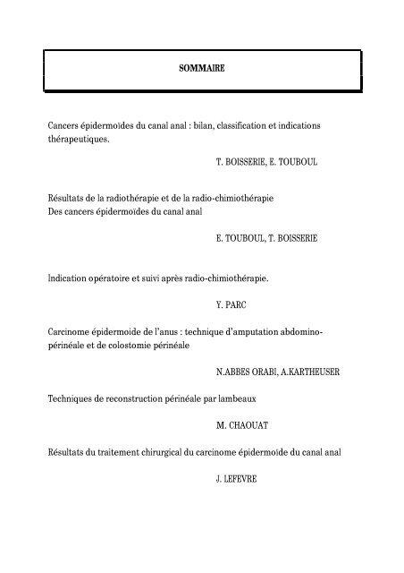 Cancer épidermoïde de l'anus - Fédération française de chirurgie ...