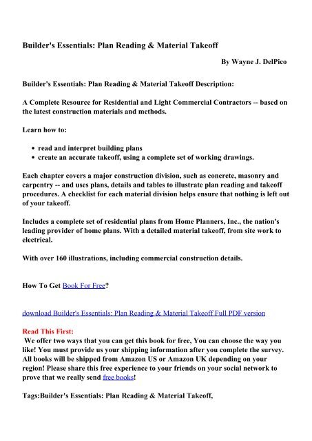 Builder's Essentials: Plan Reading & Material Takeoff - PDF