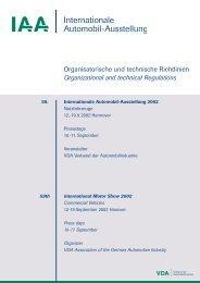 Organisatorische und technische Richtlinien ... - Archiv - IAA