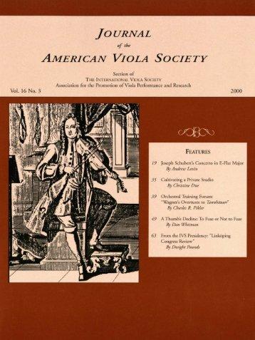 JAVS 16.3.pdf - The American Viola Society