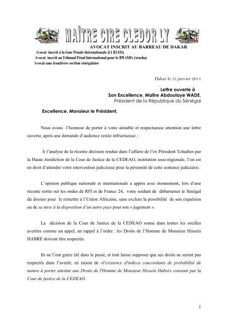 Lettre De Maître Ciré Clédor Ly Au Président Abdoulaye Wade