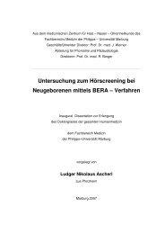 Untersuchung zum Hörscreening bei Neugeborenen mittels BERA ...