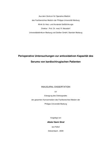 Perioperative Untersuchungen zur antioxidativen Kapazität des ...