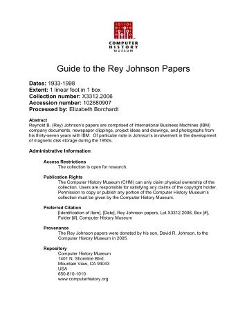Guide to the Rey Johnson Papers - Computer History Museum
