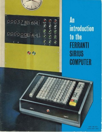 An introduction to the Ferranti Sirius Computer, 1961