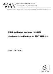 Catalogue des publications du CELV - the ECML | Bienvenue au ...