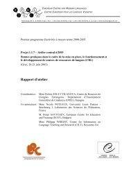 Rapport d'atelier - the ECML | Bienvenue au CELV - European ...