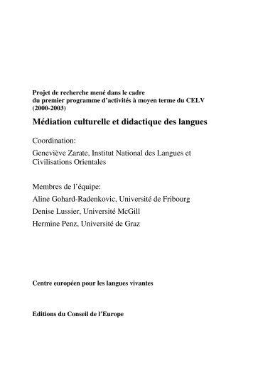 Médiation culturelle et didactique des langues - the ECML ...