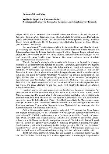 Teil I Inspektion Kaltennordheim - Kirchliche Archive und ...