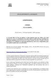 DEVELOPPEMENTS JURIDIQUES JURISPRUDENCE ... - Unesco