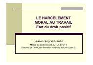 LE HARCÈLEMENT MORAL AU TRAVAIL Etat du droit positif