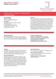 BERLINER FESTSPIELE Media-Information - Runze  & Casper
