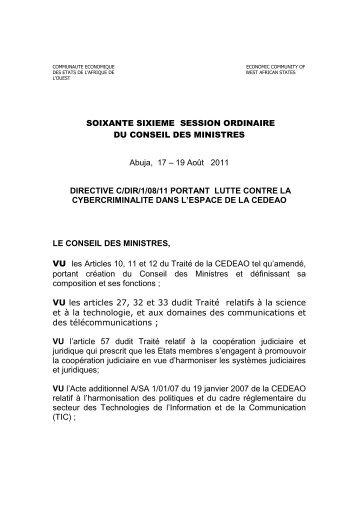 La CEDEAO a adopté un cadre juridique de référence en ... - CI-CERT
