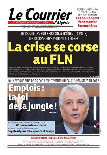 Numéro° 2750 du mardi 19 mars - Le Courrier d'Algérie
