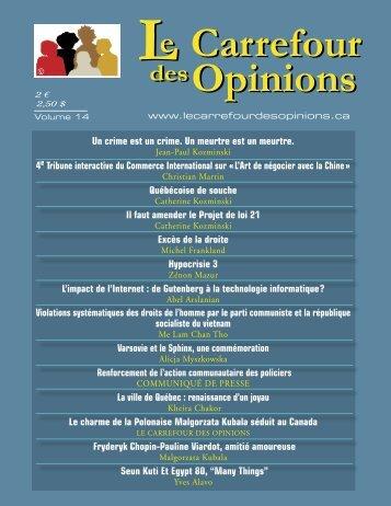 Le carrefour des opinions: VOLUME 14