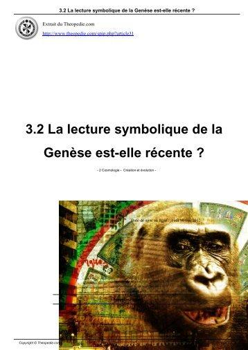 3.2 La lecture symbolique de la Genèse est-elle récente ?