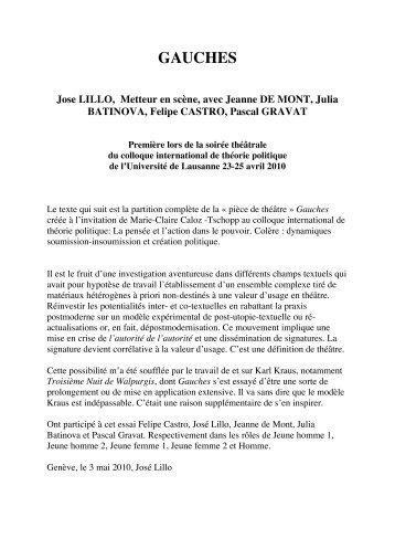 Gauches, avec Jeanne DE MONT, Julia BATINOVA ... - Exil-ciph.com