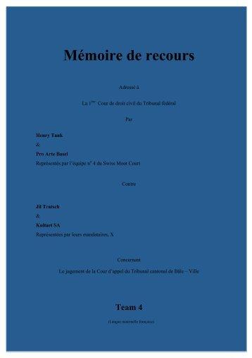 Mémoire de recours - Swiss Moot Court