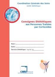 Consignes Diététiques - CHU Montpellier