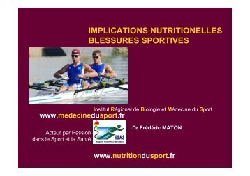 implications nutritionelles blessures sportives - IRBMS