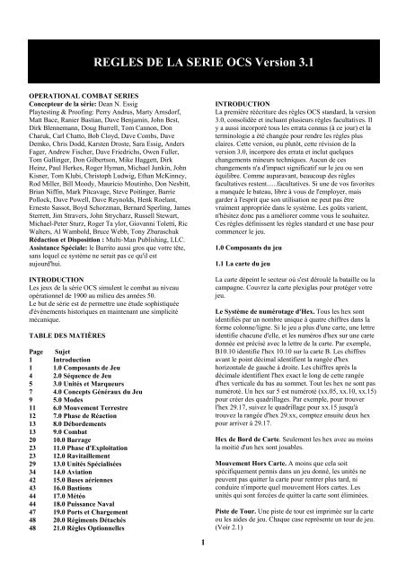 REGLES DE LA SERIE OCS Version 3.1 - Ludistratège