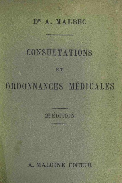 CONSULTATIONS ORDONNANCES MÉDICAL