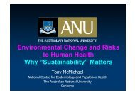 Environmental Change and Risks to Human Health Why ...