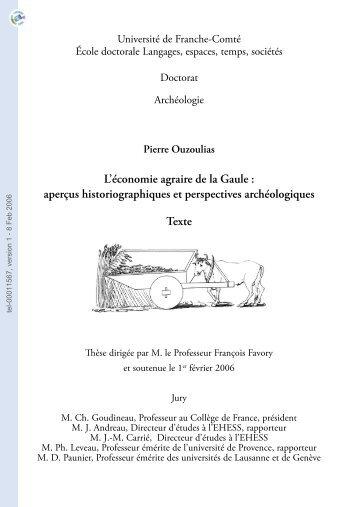 L'économie agraire de la Gaule: aperçus historiographiques et ...