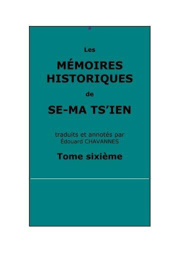 Mémoires historiques, tome sixième - Chine ancienne