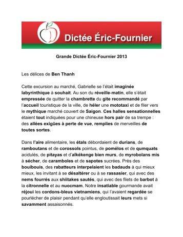 Grande Dictée Éric-Fournier 2013 Les délices de Ben Thanh Cette ...