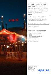 Le Cirque Knie – un support publicitaire Eventail de nos prestations