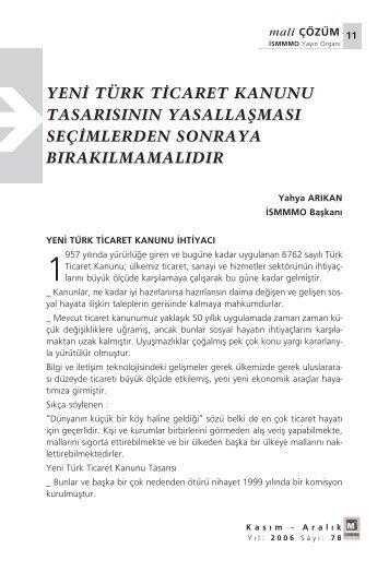 YEN‹ TÜRK T‹CARET KANUNU TASARISININ YASALLAfiMASI ...
