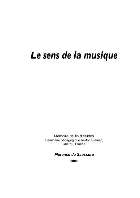 Le sens de la musique - Fédération des Ecoles Steiner-Waldorf en ...